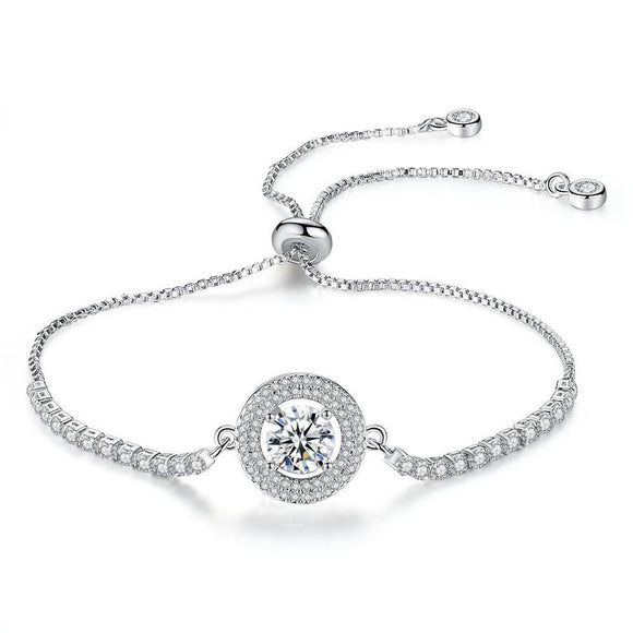 Crystal Silver Bracelet Adjustable CUBIC ZIRCONIA
