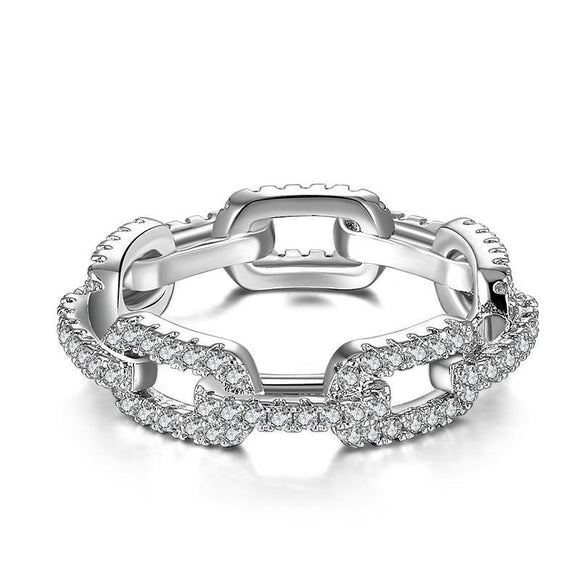 Chain Ring Full Cubic Zirconia Setting 2 Colors