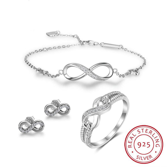 925 Sterling Silver Infinity Love Fine Jewelry Set