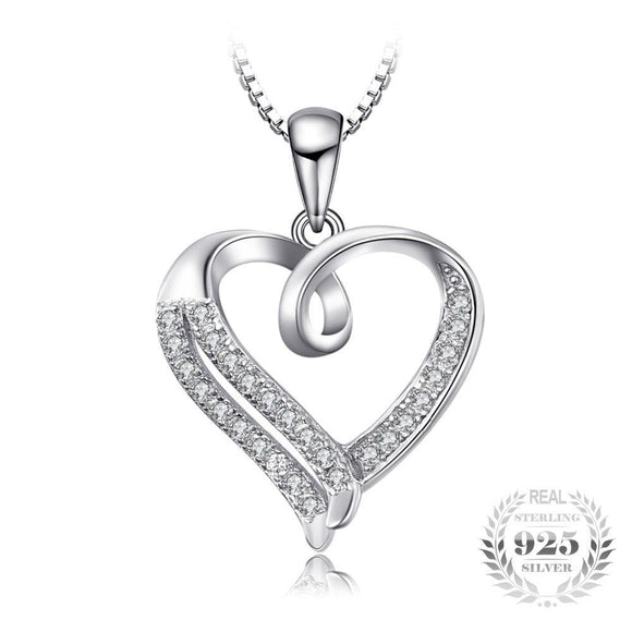 Love Heart Round Cubic Zirconia necklace 925 Sterling Silver