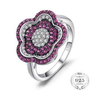 Flower 0.78ct  Ruby Pave Ring 925 Sterling Silver
