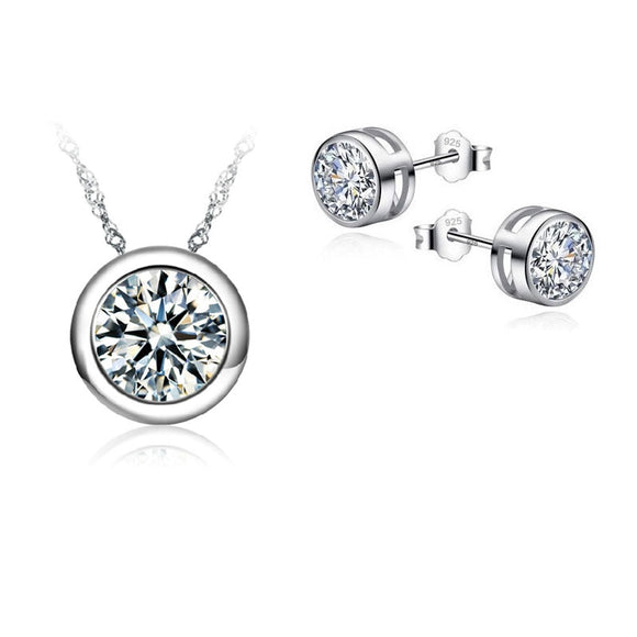 JEXXI Top Quality Jewellery Sets For Women Accessories Wedding Bridal Pendant  CZ Necklace Stud Earrings Set
