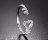 Sterling Silver Heart Key Love Open Ring