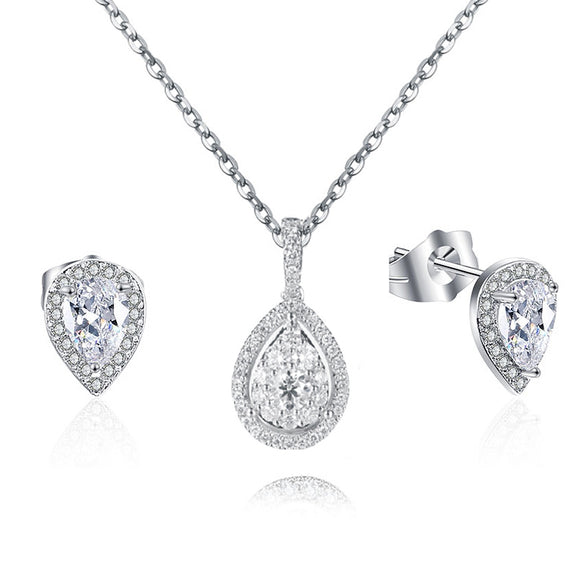 STERLING SILVER FINE TEARDROP 3-PIECE SET CREATED WITH CUBIC ZIRCONIA!