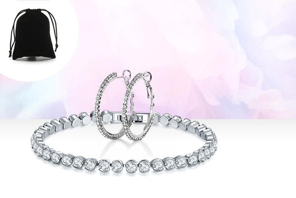 Tennis Bracelet and Hoop  Earrings Set  Made with  Crystals