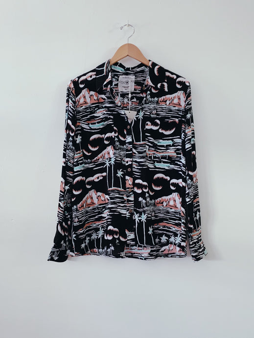 LONG SLEEVE ALOHA SHIRT - Waikiki Black