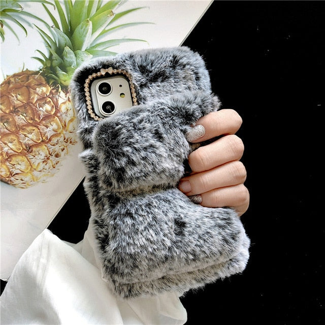 Furry Wrist Strap Phone Case