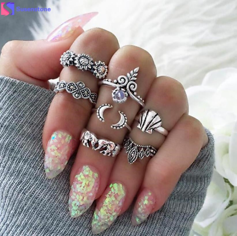7 pcs Beach Ring Set Ethnic Antique Silver