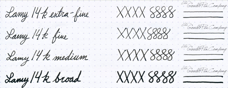 LAMY 14kt nib writing samples
