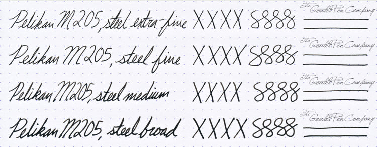 Pelikan M205 steel nib writing samples