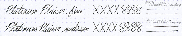 Platinum Plaisir steel nib writing samples