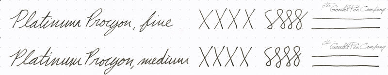 Platinum Procyon steel nib writing samples