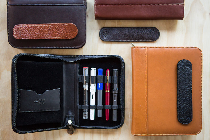 Aston Leather Single Slip Pen Pouch - Dark Brown
