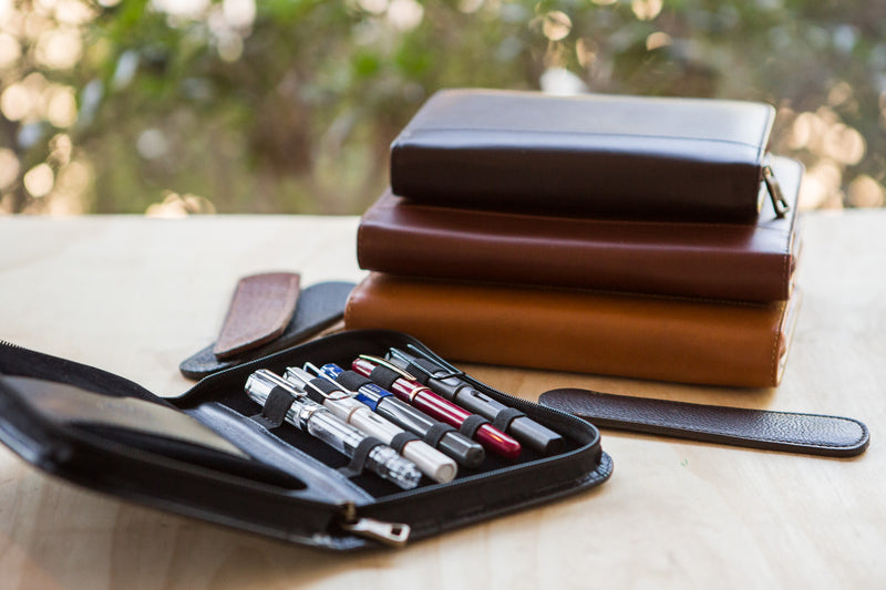 Aston Leather 20 Slot Pen Case - Cognac
