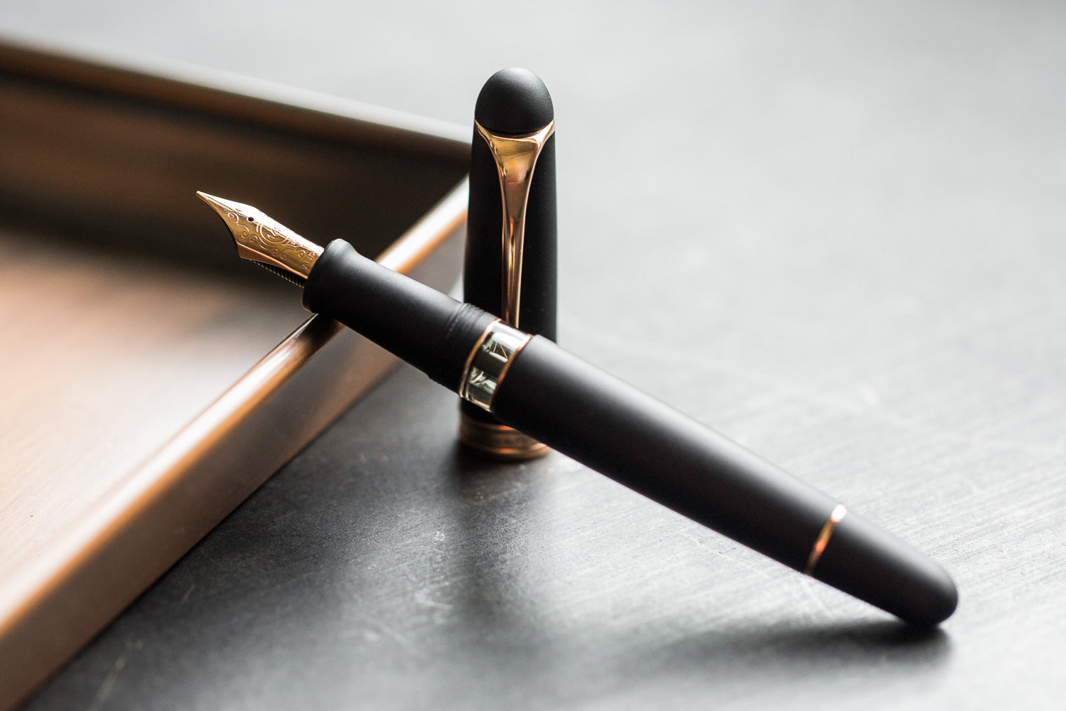 Aurora 88 Fountain Pen - Satin Black/Rose Gold