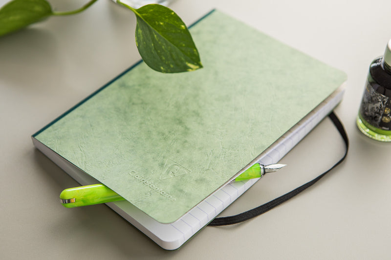 Clairefontaine Basic Clothbound Notebook - Green, Lined (5.83 x 8.27)