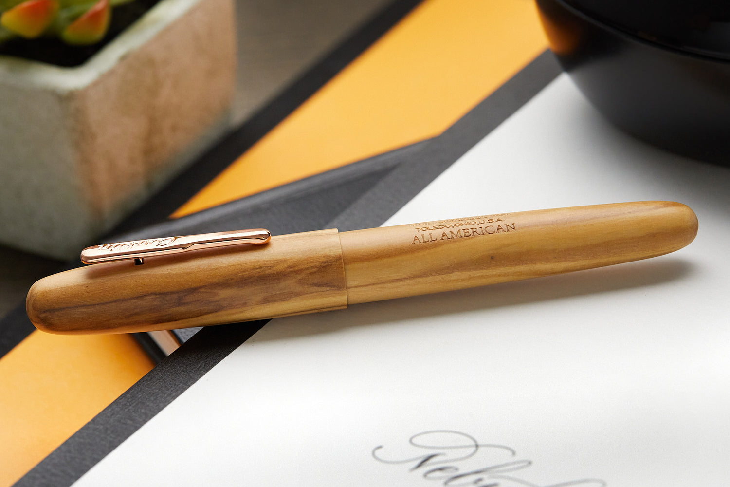 Conklin All American Fountain Pen - Olivewood/Rose Gold (Limited Edition)