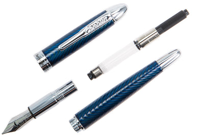 Conklin Herringbone Fountain Pen - Navy Blue