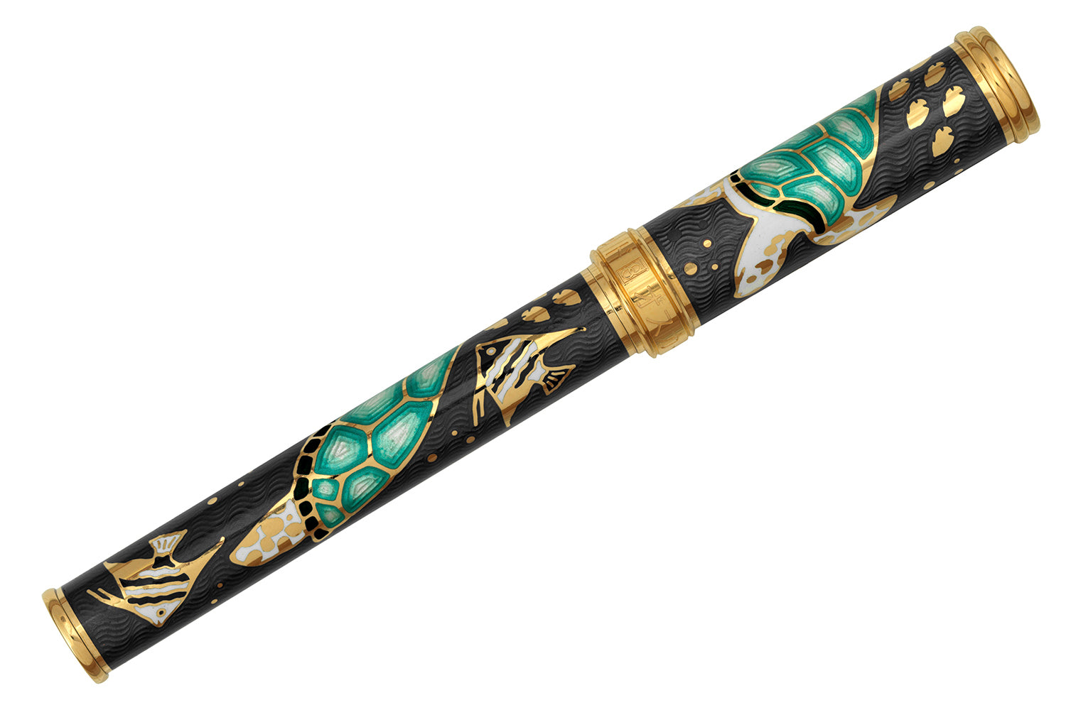 David Oscarson Sea Turtle Fountain Pen - Mossy Black/Teal/Gold