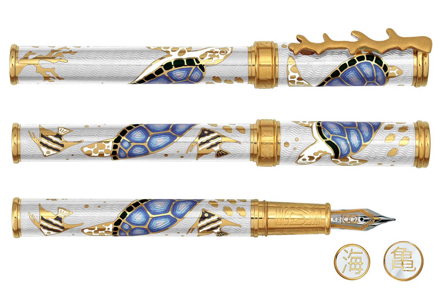 David Oscarson Sea Turtle Fountain Pen - White/Blue