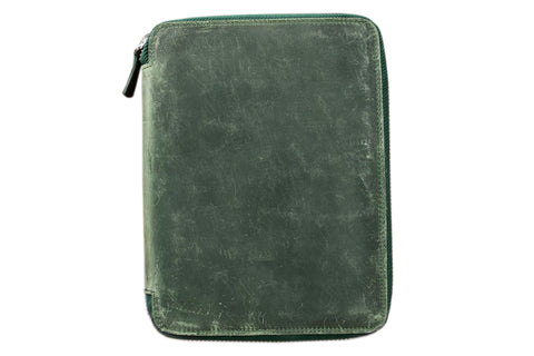 Galen Leather Zippered A5 Notebook Folio - Crazy Horse Forest Green