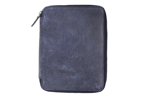 Galen Leather Zippered A5 Notebook Folio - Crazy Horse Navy Blue
