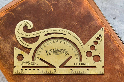 Galen Leather Brass Protractor and Combined Tool