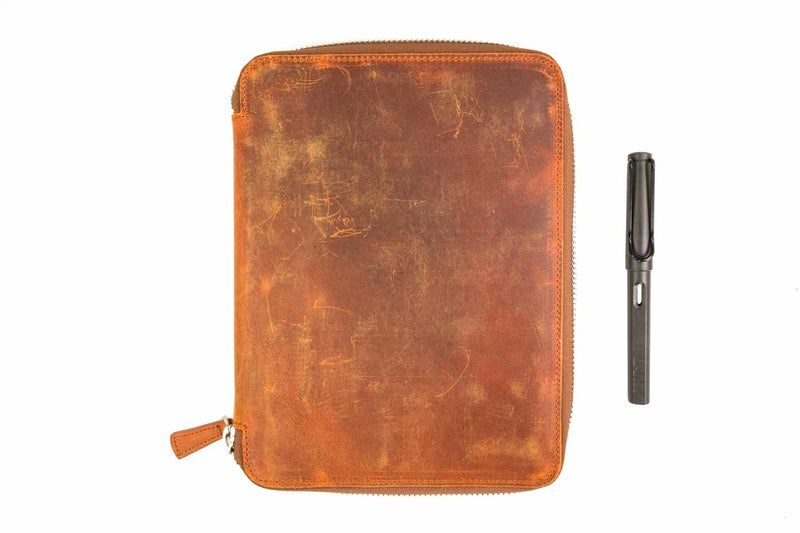 Galen Leather Zippered A5 Notebook Folio - Crazy Horse Brown