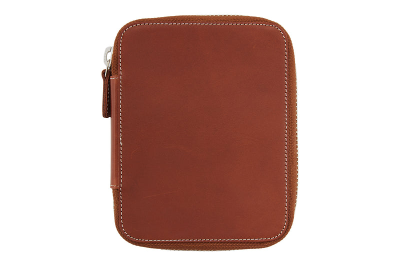 Galen Leather Zippered 10 Slot Pen Case - Brown