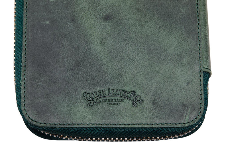 Galen Leather Zippered 10 Slot Pen Case - Crazy Horse Forest Green