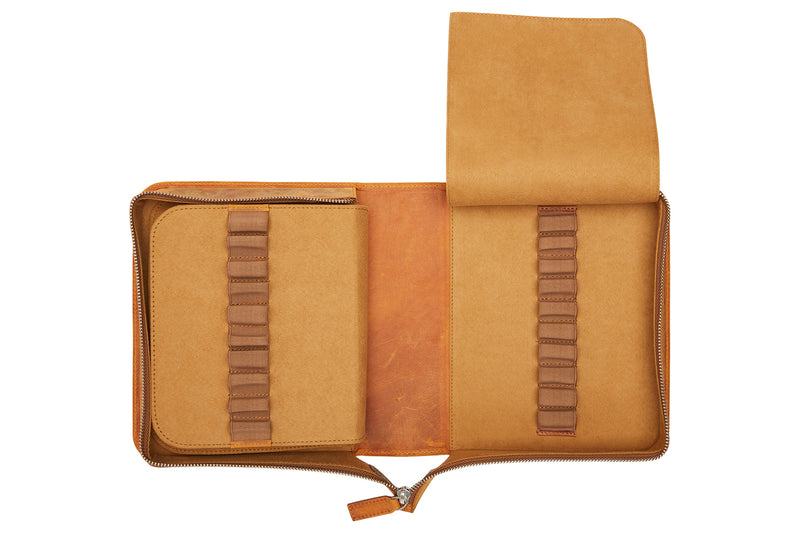 Galen Leather Zippered 40 Slot Pen Case - Crazy Horse Brown