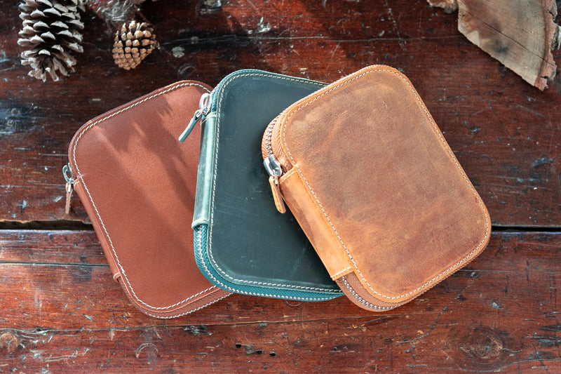 Galen Leather Zippered 10 Slot Pen Case - Crazy Horse Brown