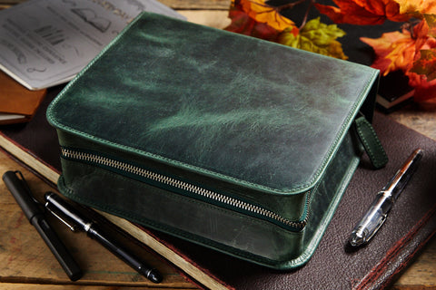 Galen Leather Zippered 40 Slot Pen Case - Crazy Horse Forest Green