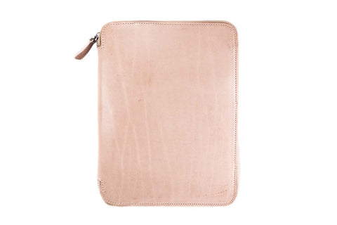 Galen Leather Zippered A5 Notebook Folio - Natural