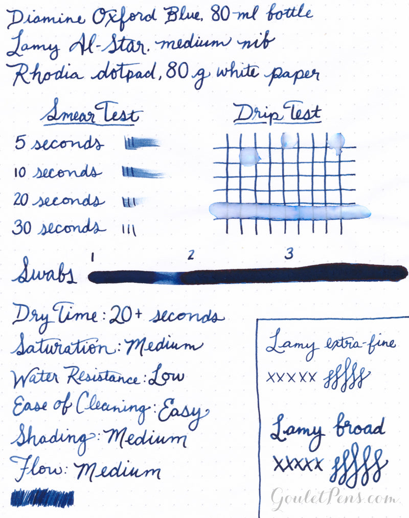Diamine Oxford Blue ink review