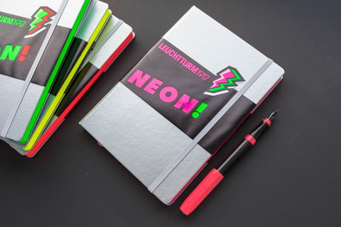 Leuchtturm1917 Medium A5 Notebook - Silver & Neon Pink, Dot Grid (Limited Edition)