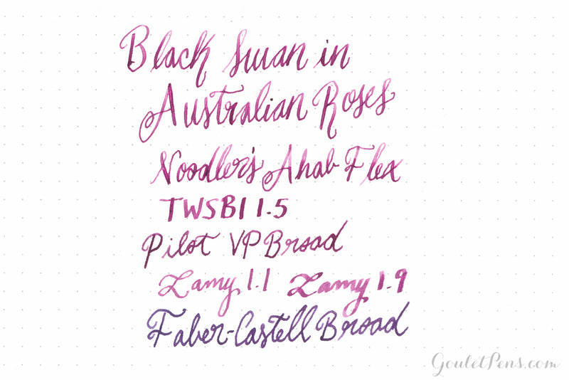 Noodler's Black Swan in Australian Roses - Ink Sample