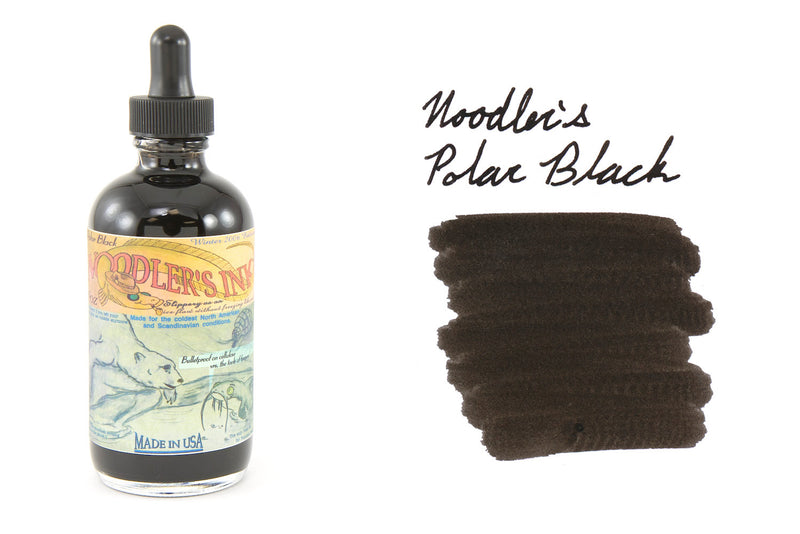 Noodler's Polar Black - 4.5oz Bottled Ink with Free Charlie Pen