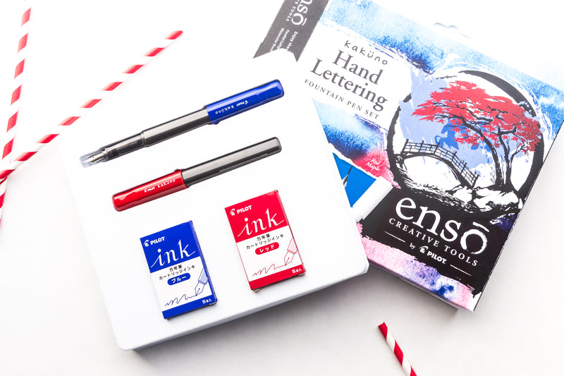 Pilot Kakuno Hand Lettering Fountain Pen Set - Red Maple