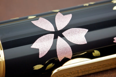 Platinum Kanazawa Leaf Fountain Pen - Swirling Petals of Cherry Blossoms