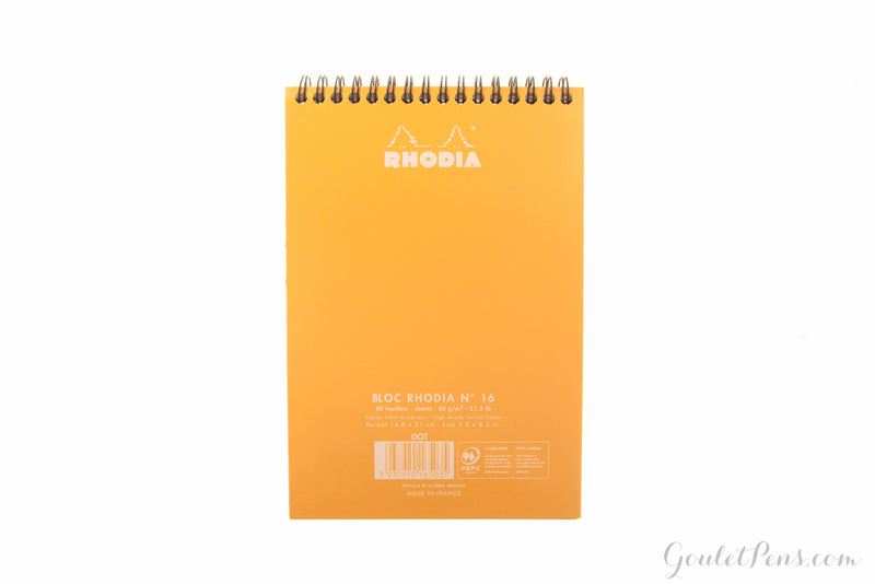 Rhodia No. 16 Top Wirebound A5 Notebook - Orange, Dot Grid