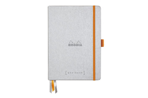 Rhodia Goalbook Dot Grid A5 Hardcover Journal - Silver (White Paper)