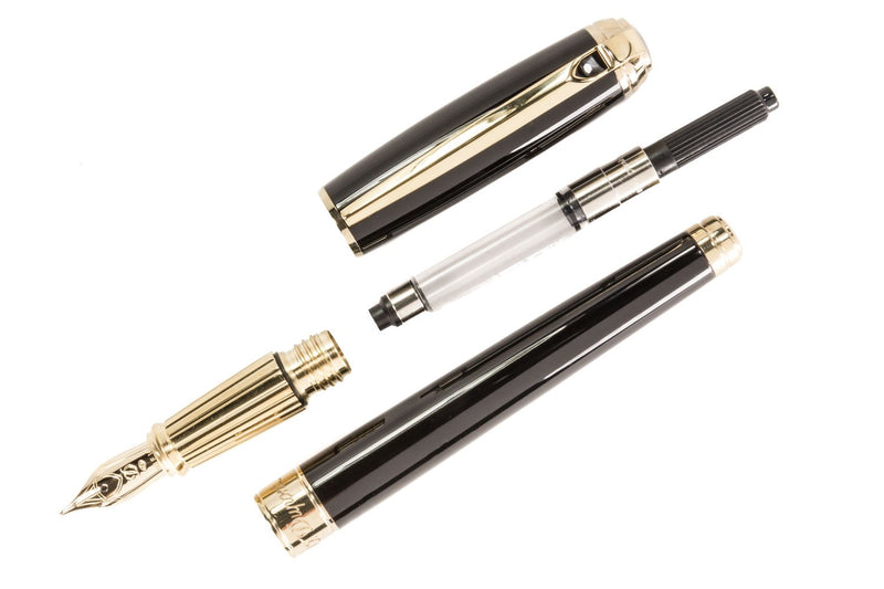 S.T. Dupont Line D Large Fountain Pen - Black/Gold