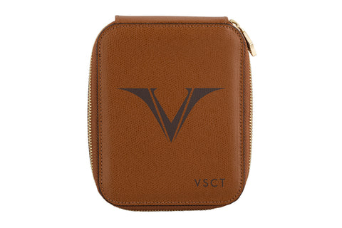 Visconti Leather 6 Pen Holder - Cognac