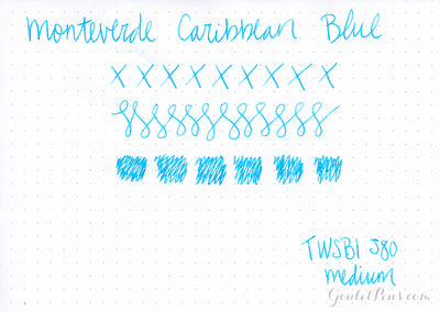 Monteverde Caribbean Blue - Ink Sample