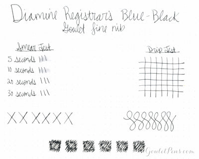 Diamine Registrars Blue-Black - Ink Sample