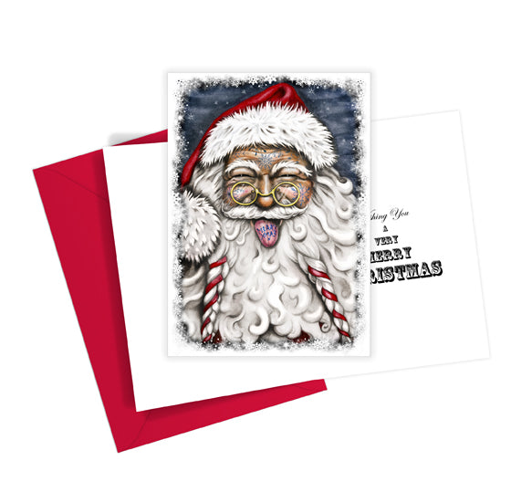 Tattooed Santa Christmas Card