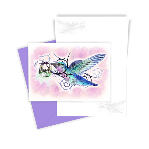 Humming Bird with Emerald Ring Greetings Card