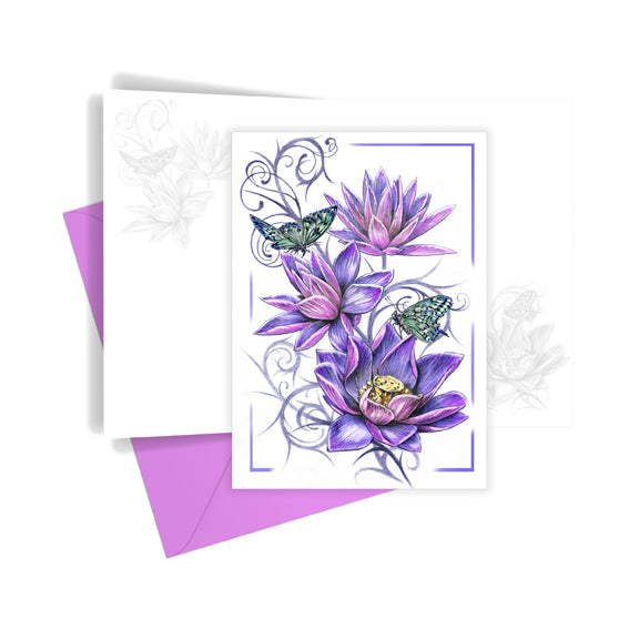 Three Flowers Greetings Card
