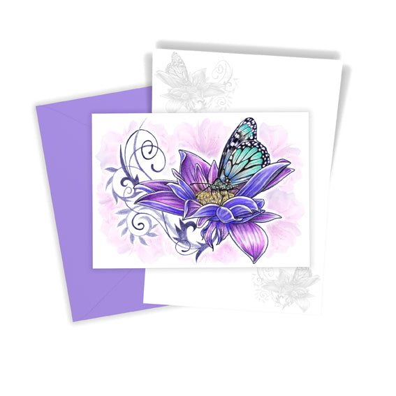 Single Flower & Butterfly Greetings Card
